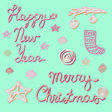 Happy New Year and Merry Christmas collection. Stock Photos