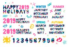 Happy New Year 2019, Merry Christmas. Colorful hand drawn vector illustration. Happy New Year 2019, Merry Christmas months, banners, numbers, seasons, typography royalty free illustration
