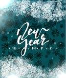 Happy New Year and Merry Christmas concept greeting card design. Postcard background for print or banner to your website. Handmade calligraphy Merry Christmas Royalty Free Illustration