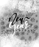 Happy New Year and Merry Christmas concept greeting card design. Postcard background for print or banner to your website. Handmade calligraphy Merry Christmas Stock Illustration