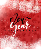 Happy New Year and Merry Christmas concept greeting card design. Postcard background for print or banner to your website. Handmade calligraphy Merry Christmas Stock Image