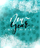 Happy New Year and Merry Christmas concept greeting card design. Postcard background for print or banner to your website. Handmade calligraphy Merry Christmas Royalty Free Stock Image