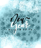 Happy New Year and Merry Christmas concept greeting card design. Postcard background for print or banner to your website. Handmade calligraphy Merry Christmas Vector Illustration