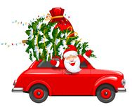 Christmas Character Santa In The Car. Happy New Year and Merry Christmas. Cute and cheerful Santa Claus drives an red retro car with a Christmas tree and gifts vector illustration