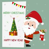 Happy New Year and Merry Christmas. Cute santa claus holding a christmas sock with gifts. He stands behind a signboard vector illustration