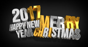 2017 happy new year and merry christmas 3d render. Graphic Stock Image