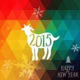 Happy New Year and Merry Christmas design, geometric backdrop. typography composition with lettering. Goat silhouette 2015. Happy New Year and Merry Christmas vector illustration