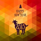 Happy New Year and Merry Christmas design, geometric backdrop. typography composition with lettering. Goat silhouette 2015. Happy New Year and Merry Christmas royalty free illustration