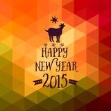Happy New Year and Merry Christmas design, geometric backdrop. typography composition with lettering. Goat silhouette 2015 Royalty Free Stock Photos