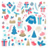 Happy New Year and Merry Christmas doodle set. Collection of xmas elements for design holiday greeting cards and invitations of. The Merry Christmas and Happy stock illustration