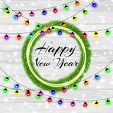 Happy New Year and Merry Christmas 2018. Elegant christmas background with circle of christmas tree. Snowflakes, lights. Sparkles and garlands on background Royalty Free Stock Photo
