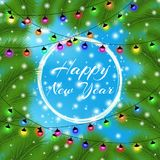 Happy New Year and Merry Christmas 2018. Elegant christmas background with christmas tree. Snowflakes, lights, sparkles. And garlands on blue background. Led Royalty Free Stock Images
