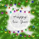 Happy New Year and Merry Christmas 2018. Elegant christmas background with christmas tree. Snowflakes, lights, sparkles. And garlands on background boards. Led Royalty Free Stock Images