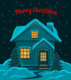 Happy New Year, Merry Christmas Eve and Night seasonal winter greeting card with decorated with led lights house in snow Stock Photography