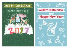 Happy New Year, Merry Christmas, Family holidays greeting card templates. Artistic collection with hand drawn ethnic royalty free illustration