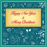 Happy New Year and Merry Christmas with floral pattern Stock Photos