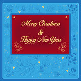 Happy New Year and Merry Christmas with floral pattern Stock Images