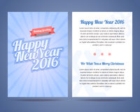 Happy New Year 2016 and Merry Christmas 2016 flyer. Poster,  greeting card with to sides. Calligraphic text on blue snowy background with rays Royalty Free Stock Image