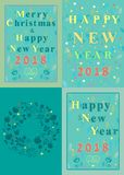 New Years and Christmas Floral Cards. Happy New Year 2018 and Merry Christmas. Four retro floral cards with inscriptions by artistic font and decor of graceful Royalty Free Stock Images