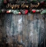 2018 Happy New Year and  Merry Christmas Frame with Snow and rea. L wood green pine Royalty Free Stock Photo