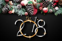 2018 Happy New Year and  Merry Christmas Frame with Snow and rea Royalty Free Stock Image