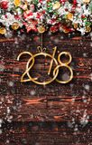 2018 Happy New Year and  Merry Christmas Frame with Snow and rea Royalty Free Stock Photo