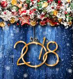 2018 Happy New Year and  Merry Christmas Frame with Snow and rea Stock Photo
