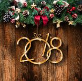 2018 Happy New Year and  Merry Christmas Frame with Snow and rea Stock Images