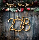 2018 Happy New Year and  Merry Christmas Frame with Snow and rea Royalty Free Stock Photography