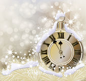 Happy New Year and Merry Christmas golden background Stock Photography