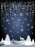 2018 Happy New Year night snowy landscape poster. 2018 Merry Christmas and Happy New Year greeting card background with Night sky, snowfall, Christmas tree stock illustration