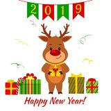 Happy New Year and Merry Christmas Greeting Card. Cute deer holding a box with a gift. Boxes with gift and serpentine. Cartoon sty. Le. Vector vector illustration