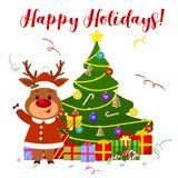 Happy New Year and Merry Christmas greeting card. A cute deer in a Santa Claus costume are standing next to the Christmas tree and. Holding a gift. Cartoon stock illustration