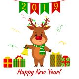 Happy New Year and Merry Christmas Greeting Card. A cute deer in a santa costume is holding a gift. Boxes with gift and serpentine. Cartoon style. Vector vector illustration