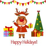Happy New Year and Merry Christmas Greeting Card. A cute deer in a santa costume is holding a gift. Christmas tree and boxes with. Gifts. Cartoon style. Vector royalty free illustration