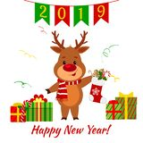 Happy New Year and Merry Christmas greeting card. A cute deer in a santa costume is holding a sock with a gift. Boxes with a gift. And a serpentine. Cartoon royalty free illustration