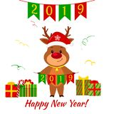 Happy New Year and Merry Christmas greeting card. A cute deer in a Santa hat and a bell holding flags 2019. Boxes with gifts. Cart. Oon style. Vector royalty free illustration