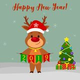 Happy New Year and Merry Christmas greeting card. A cute deer with a Santa hat and a bell holding the flags of 2019. Christmas tre. E, winter and snowflakes stock illustration