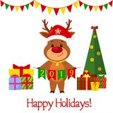 Happy New Year and Merry Christmas greeting card. A cute deer in a Santa hat and a bell holding flags 2019. A Christmas tree and b. Oxes with gifts. Cartoon stock illustration