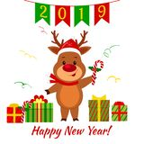 Happy New Year and Merry Christmas greeting card. A cute deer in a santa hat is holding a lollipop. Boxes with gift and serpentine. Cartoon style. Vector vector illustration