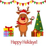 Happy New Year and Merry Christmas greeting card. A cute deer in a santa hat is holding a lollipop. Christmas tree and boxes with. Gifts. Cartoon style. Vector stock illustration