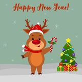 Happy New Year and Merry Christmas Greeting Card. Cute deer in santa hat is holding a lollipop. Christmas tree, winter and snowfla. Kes. Cartoon style. Vector vector illustration