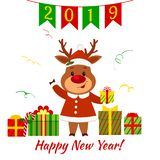 Happy New Year and Merry Christmas greeting card. Cute deer in a santa suit holding a box with a gift. Boxes with a gift and a ser. Pentine. Cartoon style stock illustration