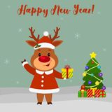 Happy New Year and Merry Christmas greeting card. Cute deer in a santa suit holding a gift. Christmas tree, winter and snowflakes. Cartoon style. Vector royalty free illustration