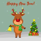 Happy New Year and Merry Christmas Greeting Card. Cute deer in a scarf and garland on the horns. Christmas tree, winter and snowfl. Akes. Cartoon style. Vector stock illustration