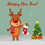 Happy New Year and Merry Christmas Greeting Card. Cute deer in a scarf holding a sock with a gift. Christmas tree, winter and snow. Flakes. Cartoon style. Vector stock illustration