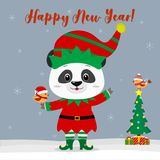 Happy New Year and Merry Christmas Greeting Card. Cute little panda in an elf costume with a little bird. Christmas tree. With gifts and a little bird in winter vector illustration
