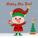 Happy New Year and Merry Christmas greeting card. Cute little pig in an elf costume holding a little bird. Christmas. Tree with gifts and a little bird in a royalty free illustration