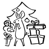 Vector funny piglet gift boxes and fir tree vector illustration