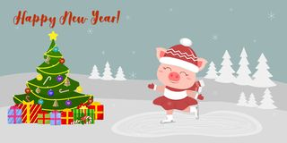 Happy New Year and Merry Christmas Greeting Card. Cute pig in a suit skates on the rink. Christmas tree and boxes with stock illustration